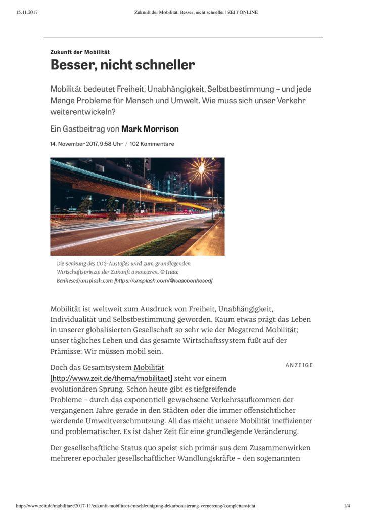 thumbnail of Zukunft der Mobilität_ Besser, nicht schneller _ZEIT ONLINE