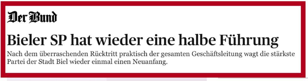 thumbnail of Bieler SP hat wieder eine halbe Führung – News Bern: Kanton – derbund.ch
